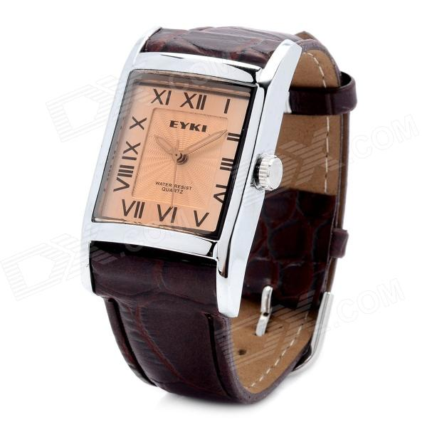 EYKI W8116G/L Square Style PU Leather Band Roman Numerals Analog Quartz Wrist Watch for Men - Brown paidu fashion men wrist watch casual round dial analog quartz watch roman number faux leatherl band trendy business clock