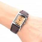 EYKI W8116G/L Square Style PU Leather Band Roman Numerals Analog Quartz Wrist Watch for Men - Brown