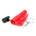 3-in-1 Multi-functional Car Emergency Life-Saving Hammer Keychain - Red + Black