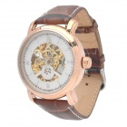 ORKINA 018 Artificial Leather Band Self-Winding Mechanical Analog Skeleton Wrist Watch - Brown