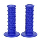 Skull Heads Pattern Rubber Motorcycle Racing Handlebar Grips - Blue (Pair)