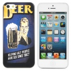 Beer Style Protective PC Back Case for Iphone 5 - Dark Blue + Black