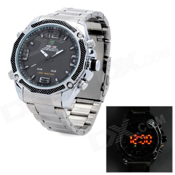 WEIDE WH2306 Stainless Steel Dual Time Display LED Wrist Watch w/ Alarm for Men - Silver