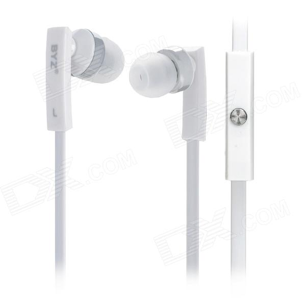 BYZ-S500 Stylish Flat Cable Earphone w/ Microphone - White + Silver (3.5MM Plug)