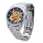 Daybird 3533 Stainless Steel Analog Skeleton Mechanical Wrist Watch for Men - Silver + Black