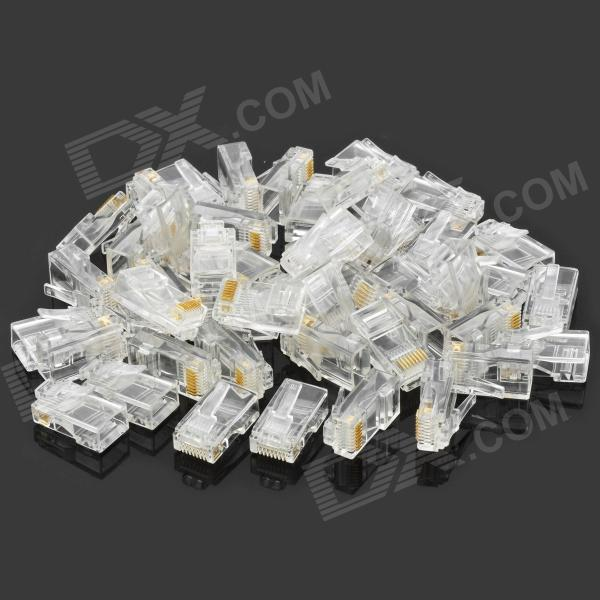 Crystal RJ45 Plug LAN Network Connector (50 PCS)DIY Parts &amp; Components<br>ModelAMPQuantity50ColorCrystalQuantity50ColorCrystalForm  ColorWhiteMaterialPA66Packing List<br>