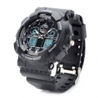 OHSEN AD1012 Water Resistant Dual Time Display Sports Wrist Watch w/ Alarm for Men - Black