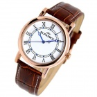 ST.PATRICK FI-156B Fashion Genuine Leather Band Analog Quartz Rhinestone Wrist Watch - Brown