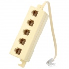 5-Way 6P4C Telefone Splitter Coupler Connector - Bege