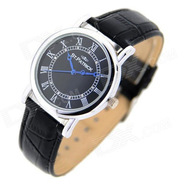 ST.PATRICK FI-156A Fashion Genuine Leather Band Analog Quartz Rhinestone Wrist Watch - Black