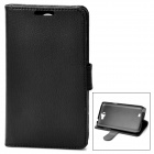 Protective Flip Cover PU Leather Case w/ 2 Card Slots for Samsung Galaxy Note 2 N7100 - Black