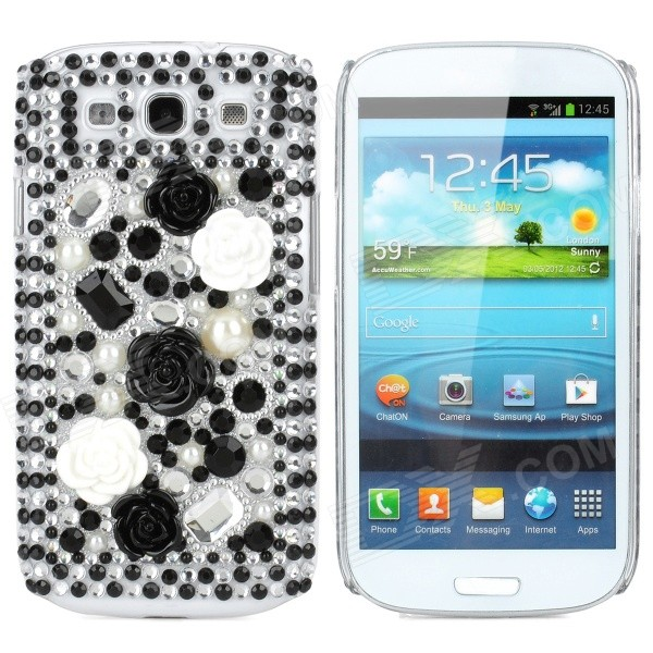 Protective Plastic Rhinestone Case for Samsung i9300 Galaxy S3 - Silver + White + Black fashionable protective bumper frame case with bowknot for samsung galaxy s3 i9300 black