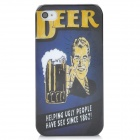 Beer Style Protective PC Back Case for Iphone 4 - Dark Blue + Black