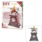 2807E DIY 3D Cubic Knight Clock Puzzle Toys - Brown + Yellow + Red