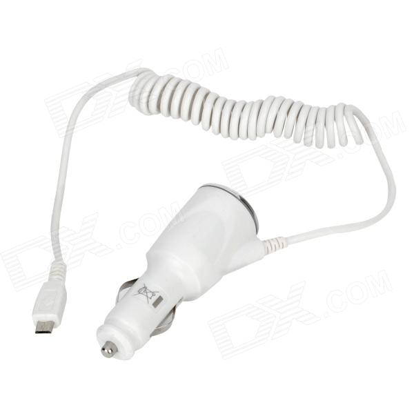 Lidu L-066 Micro USB Car Charger for Samsung i9100 / i9300 / HTC / BlackBerry - White (12~24V)