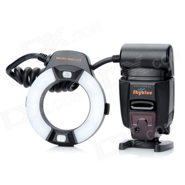 SkyBlue MK-14EXM 2.0'' LCD 9W 5500K 300lm LED Profession TTL Macro Ring Flash Light for Canon DSLR skyblue mk 14ext 2 0 lcd 9w 5500k 5500lm led profession ttl macro ring flash light for nikon dslr