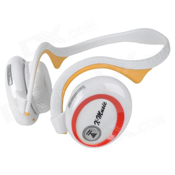 X6 Bluetooth v1.2 Stereo Headphones w/ Microphone / FM / TF - White orignal bluedio t2 foldable over the ear bluetooth headphones bt 4 1 fm radio