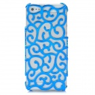 Protective Hollow-Out Flower Style Plastic Back Case for Iphone 5 - Blue