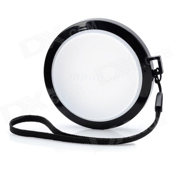 MENNON 67mm Camera White Balance Lens Cap Cover w/ Hand Strap - Black + White
