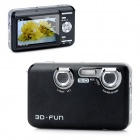 "3.0"" TFT CMOS 5MP 3D Digital Camera with 8X Digital Zoom / HDMI / Mini USB / AV-Out - Black"