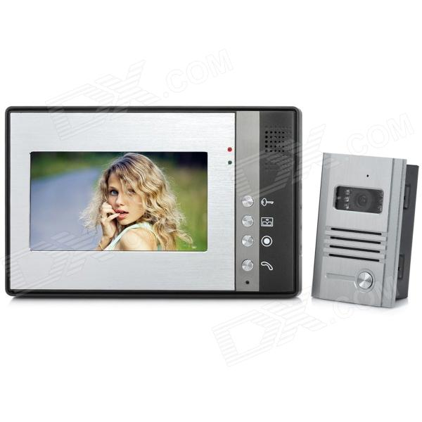 SY802MB11 Wired 7 TFT LCD Color Video Door Phone w/ Touch Pad - Grey wired video door phone new 7inch color tft lcd monitor screen video doorphone touch button outside panel of video intercom black