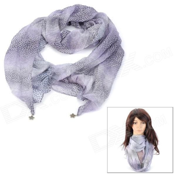 Leopard Point Pattern Woman's Chiffon Scarf - Bright Purple