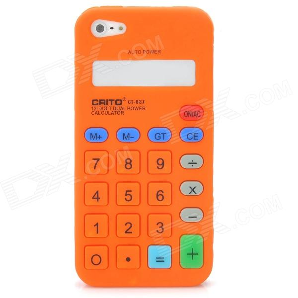 Protective Calculator Style Silicone Back Cover Case for Iphone 5 - Orange protective silicone soft back case cover for iphone 5 white