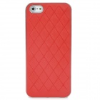 Protective Gridding PU Back Case Cover for Iphone 5 - Red