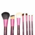 EMILY Portable 7-in-1 Cosmetic Makeup Brushes Set w/ Cylinder Case - Purple Violet + Deep Pink