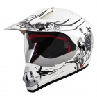 Fashion Tanked 340 Motorcycle Outdoor Sports Racing Helmet - Black + White (Size L)