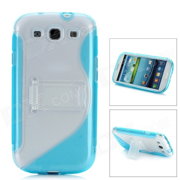Protective Plastic Case w/ Foldable Holder for Samsung i9300 Galaxy S3 - Blue + Transparent