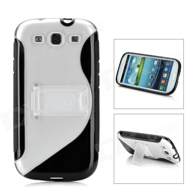 Protective Plastic Case w/ Foldable Holder for Samsung i9300 Galaxy S3 - Black + Transparent fashionable protective bumper frame case with bowknot for samsung galaxy s3 i9300 black