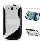 Protective Plastic Case w/ Foldable Holder for Samsung i9300 Galaxy S3 - Black + Transparent