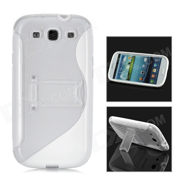 Protective Plastic Case w/ Foldable Holder for Samsung i9300 Galaxy S3 - White + Transparent and22 protective plastic bumper case for samsung galaxy s3 mini i8190 white transparent