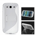 Protective Plastic Case w/ Foldable Holder for Samsung i9300 Galaxy S3 - White + Transparent