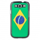 Retro Brazil National Flag Pattern Protective Plastic Case for Samsung i9300 Galaxy S3 - Green