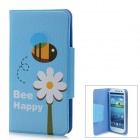 Protective Flip-Open PU Leather Case for Samsung Galaxy S3 i9308 - Blue