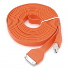 USB to 30-Pin Charging & Data Transmission Flat Cable for iPhone / iPad / iPod - Orange (300cm)