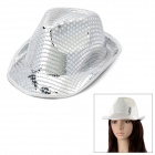 Cool Canvas + Sequins Hat for Stage Play - Silver