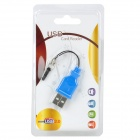 USB 2.0 Micro SD / TF Card Reader w/ 3.5mm Earphone Dust Proof Plug - Blue