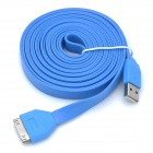 USB to 30-Pin Charging & Data Transmission Flat Cable for iPhone / iPad / iPod - Blue (300cm)