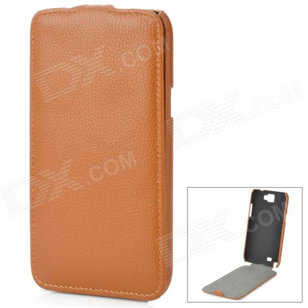 stylish pu leather sleeve pouch case for samsung galaxy note ii n7100 htc one x brown Protective Top Flip Open PU Leather Case for Samsung Galaxy Note 2 N7100 - Brown
