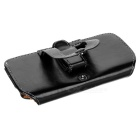 Protective PU Leather Flip-Open Case with Clip for Iphone 5 - Black
