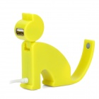 Mini sitzende Katze Form High Speed ​​USB 2.0 4-Port Hub - Yellow