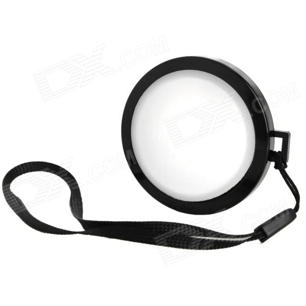 MENNON 46mm Camera White Balance Lens Cap Cover w/ Hand Strap - Black + White
