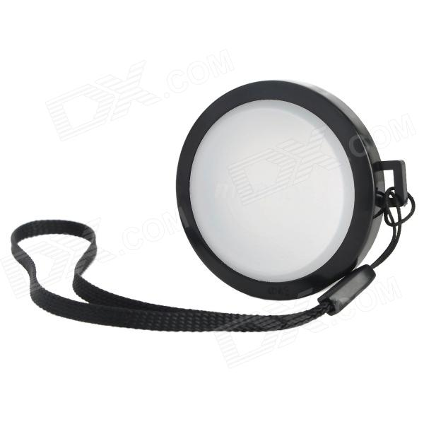 MENNON 43mm Camera White Balance Lens Cap Cover w/ Hand Strap - Black + White