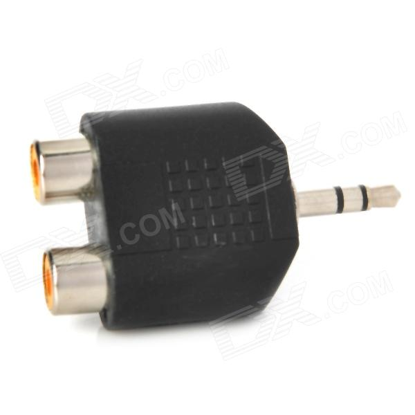Stereo 3.5mm Male to Dual Female RCA Audio Adapter Connector - Black