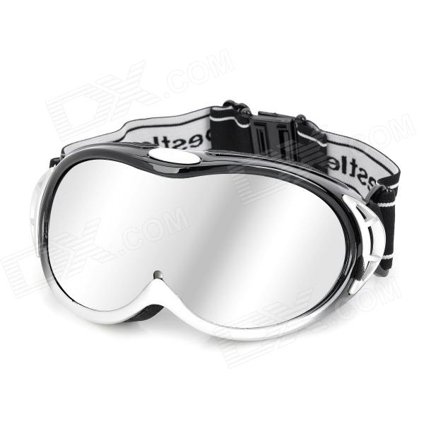 Resin Lens Skiing Glasses / Goggles - Silver + Black