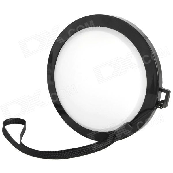 MENNON 82mm Camera White Balance Lens Cap Cover w/ Hand Strap - Black + White