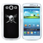 Skull Pattern Protective Back Case w/ Caller Signal Flashing LED for Samsung i9300 - Black